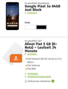 Klarmobil Allnet Flat mit Google Pixel 3a